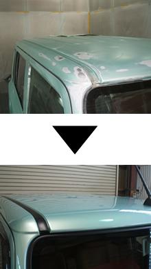 日産CUBE ルーフ(屋根)板金塗装施工例
