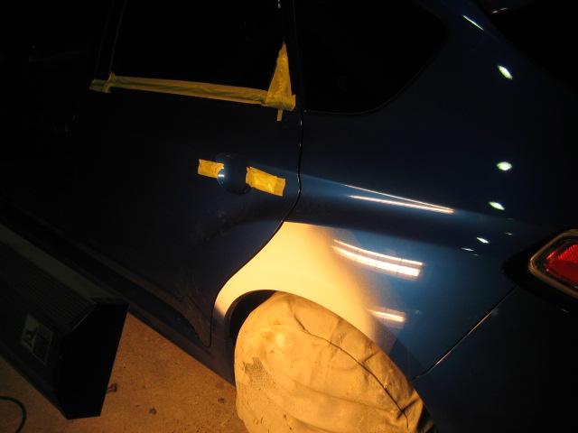 スバルWRXインプレッサ 左クォーターリヤフェンダー板金塗装修理