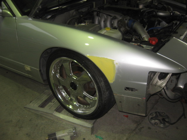 180SXキズヘコミ修正塗装鈑金エアロ取付け塗装足回り事故千葉松戸タキザワ自動車