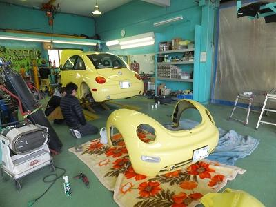 VW ビートル 事故修理