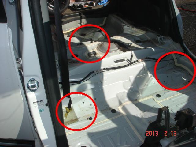 後部ドアから運転席を向いて撮った写真です。角々に動物の毛だまりができてます。